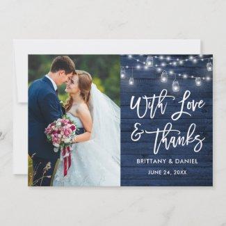 Blue Wood Lights Brush Script Love Thanks Wedding Thank You Card