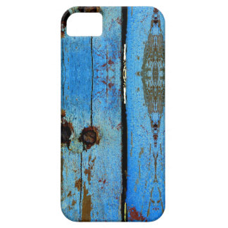 Blue wood mobile case. iPhone 5 cover