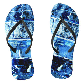 Blue Wood Pattern Flip Flops
