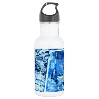 Blue Wood Pattern Water Bottle