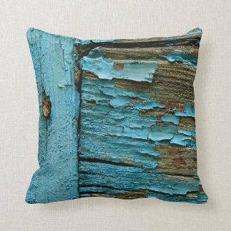 Blue wood pillow. throw pillow