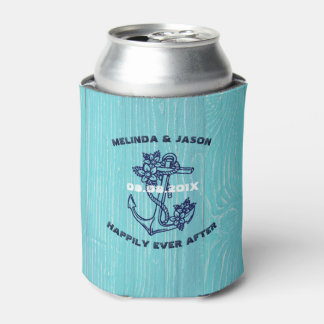 Blue Wood Planks Dark Blue Nautical Boat Anchor Can Cooler