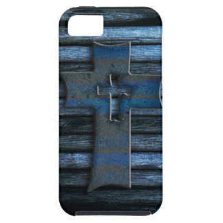 Blue Wooden Cross iPhone 5 Cases