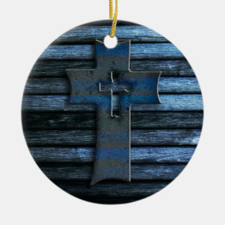 Blue Wooden Cross Round Ceramic Ornament