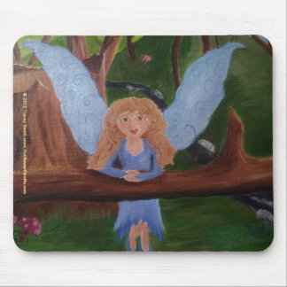 Blue Woodland Fairy original oil painting Mouse Pads