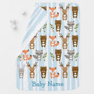 Blue Woodland Forest Animal Baby Blanket