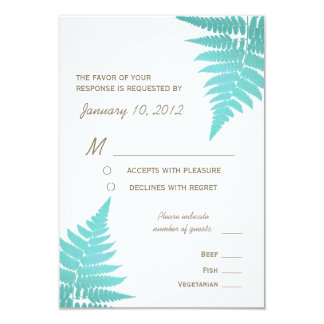 Blue Woodland Wedding Fern with Meal Options 3.5x5 Paper Invitation Card