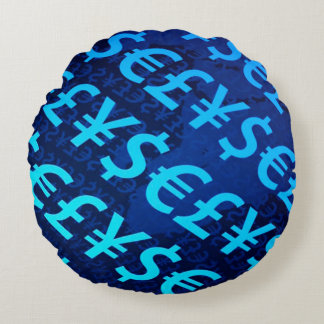 Blue World Currency Collage Pattern Round Pillow