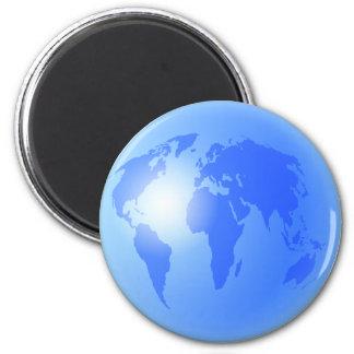 Blue World Globe 2 Inch Round Magnet