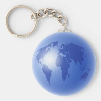 Blue World Globe Basic Round Button Keychain