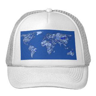 Blue world map trucker hat