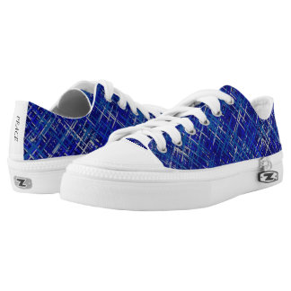 Blue Woven Pattern Low Top Canvas Shoes