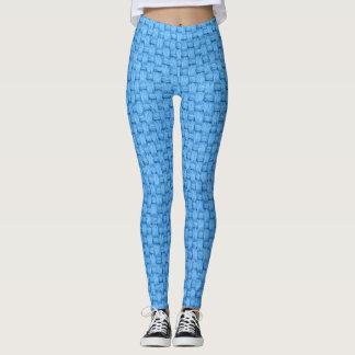 Blue Woven Texture Pattern Leggings