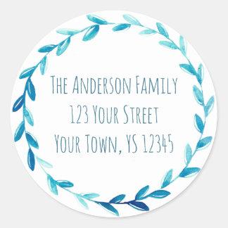 Blue Wreath Address Classic Round Sticker