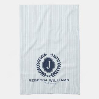 Blue Wreath Badge Custom monogram Kitchen Towel