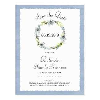 Blue Wreath Country Family Reunion Save the Date Postcard