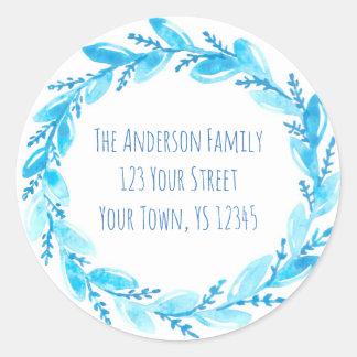 Blue Wreath Floral Address Classic Round Sticker