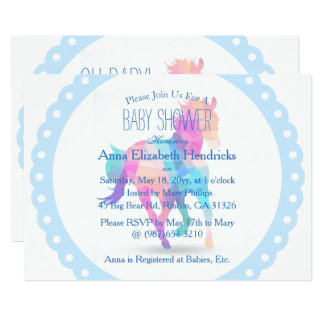 Blue Wreath Geometric Running Horse Baby Shower Card