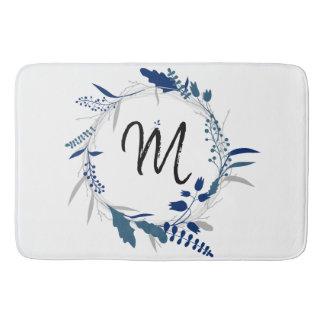 Blue Wreath Monogram Bath Mat
