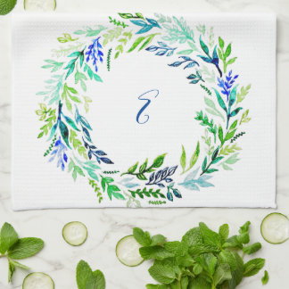 Blue Wreath Monogram Kitchen Towel