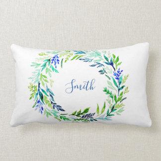 Blue Wreath Monogram Lumbar Pillow