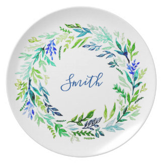 Blue Wreath Monogram Plate