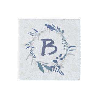 Blue Wreath Monogram | Stone Magnet