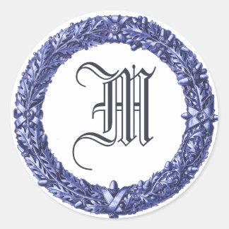 Blue Wreath Monogrammed Stickers