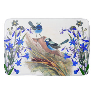 Blue Wren Bird Wildlife Animals Floral Flowers Bath Mat