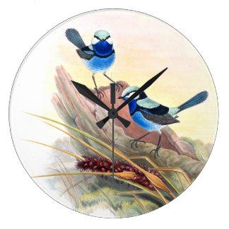 Blue Wren Birds Wildlife Animals Flowers Clock