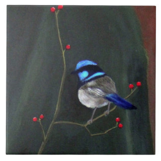 Blue Wren Ceramic Tile