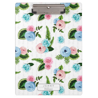 Blue X Pink Flowers on White #2 Clipboards