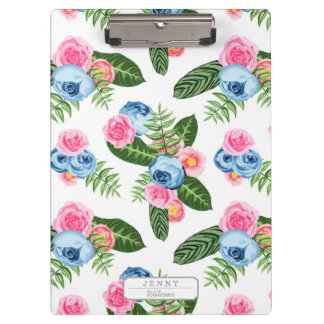 Blue X Pink Flowers on White Clipboard