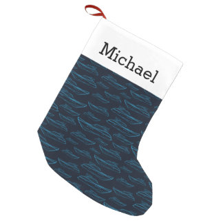 Blue Yacht Pattern | Add Your Name Small Christmas Stocking