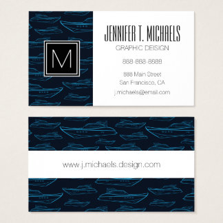 Blue Yacht Pattern Business Card