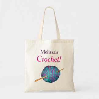 Blue yarn and crochet hook with your name tote bag