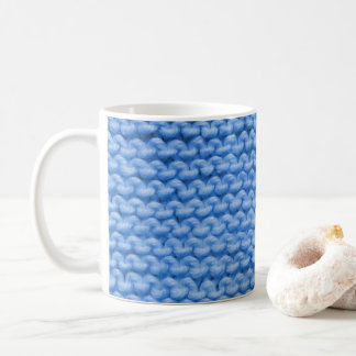 Blue Yarn Knit Coffee Mug