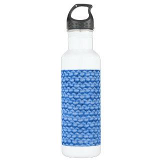 Blue Yarn Knit Garter Stitch 710 Ml Water Bottle