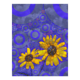 Blue Yellow Abstract Flowers Personalized Letterhead