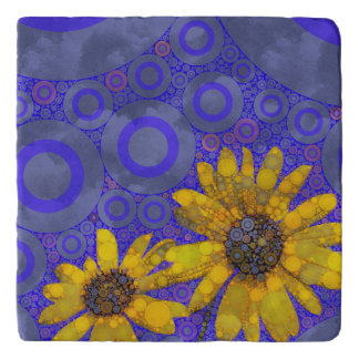 Blue Yellow Abstract Flowers Trivet