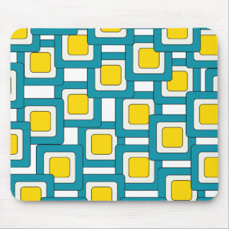 Blue yellow abstract pattern mouse pad