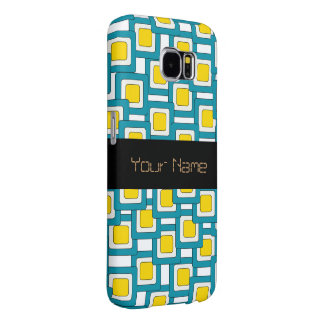 Blue yellow abstract pattern samsung galaxy s6 cases