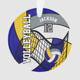 Blue, Yellow and Gray Volleyball Ornament