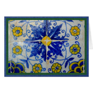 Blue, yellow and green tiles from Toledo, Spain Card