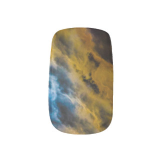 Blue, Yellow and White Clouds Minx Nail Art