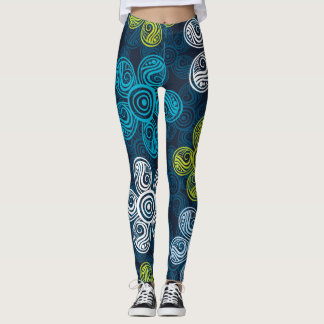 Blue Yellow and White Floral Leggings
