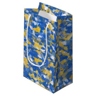 Blue, Yellow and White Paint Splashes 8200 Small Gift Bag