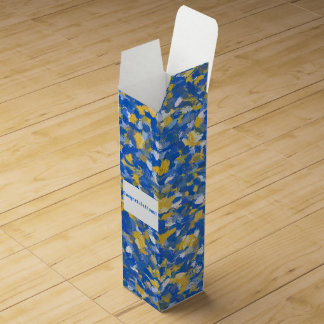Blue, Yellow and White Paint Splashes 8200 Wine Bottle Boxes