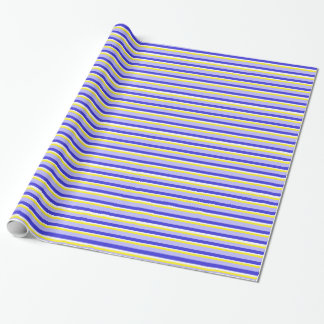 Blue, Yellow, and White Striped Wrapping Paper