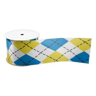 Blue & Yellow Argyle Ribbon Satin Ribbon